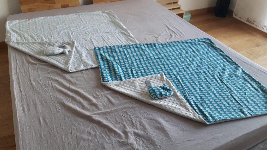 couverture bébé gris bleu blanc coton bateau baleine douillette