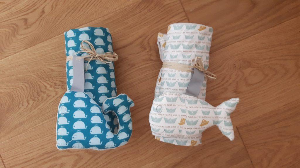 couverture bébé baleine poisson gris bleu